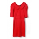 Red Plain Peter Pan Collar Fitted Dress with 1/2 Sleeve
