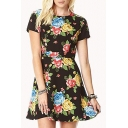 Black Background Round Neck Short Sleeve Skater Dress