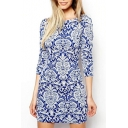Blue and white porcelain Print 3/4 Sleeve Shift Dress