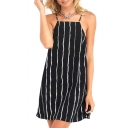 White Threads Print Mini Black Slip Dress