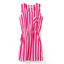 Stripe Print Round Neck Gathered Waist Pockets Dress