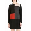 Long Sleeve Round Neck Office Lady Style Color Block Wool Dress