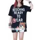 Lovely Bear and Letter Print Short Sleeve Tunic Tee