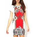 White Background Red Vintage Flower Print Ethnic Style Short Sleeve Dress