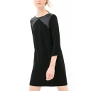 Black PU Insert Round Neck 3/4 Sleeve Dress