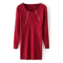 Plain Long Sleeve Double Zip Fitted Dress