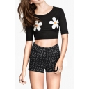 Black Daisy Print Short Sleeve Crop T-Shirt