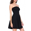 Black Strapless Fitted A-Line Dress