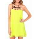 Yellow Cage Strappy Back Sleeveless Dress