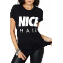 Black Short Sleeve Nice Hair Print T-Shirt