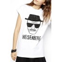 White Short Sleeve Old Man Letter Print T-Shirt
