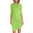 Green Boat Neck Long Sleeve Side Draped Dress