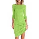 Green Boat Neck Long Sleeve Side Draped Dress