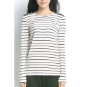 Striped Loose Round Neck Long Sleeve Tee with Button Shoulder