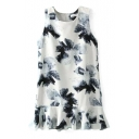 White Background Blue Ink Color Flower Ruffle Hem Tanks Dress