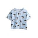 Blue Bulldog Print Short Sleeve T-Shirt