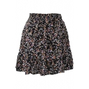 Black Background Colorful Flora Elastic Waist Short Skirt
