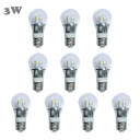 Mini LED Ball Bulb  10Pcs 6000K 300lm 220V E27 3W  in Silver Fiinish