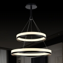 Modern Pratical Simple LED Round Pendant In Two Tiers