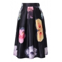 Flower Print Pleated Midi Full  Skirt