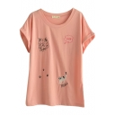Red Short Sleeve Kitty Embroidered Midi T-Shirt