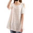 White Short Sleeve Cold Shoulder Flora Embroidered Blouse