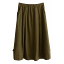 Dark Green Button Embellish Mori Girl Linen Midi Skirt