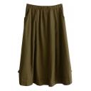 Dark Green Button Embellish Mori Girl Linen Midi Skirt