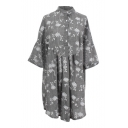 Gray 1/2 Sleeve White Flora Embroidered Shirt Style Swing Dress