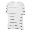 Black Thin Stripe Short Sleeve Basic T-Shirt