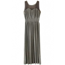 Gray Mesh Panel Shoulder Longline Tanks Dress