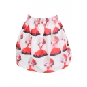 Red Dressed Girl Print High Waist White Organza Skirt