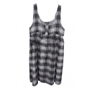 Black&White Plaid Sleeveless Overall Dress