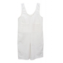 White Simple Double Pockets Front Sleeveless Rompers