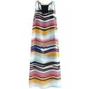 Rainbow Color Round Neck Split Hem Chiffon Maxi Dress