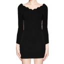 Scalloped Neckline Open Back Long Sleeve Mini Dress