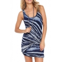 Concise Contrast Stripe Bodycon Tanks Dress