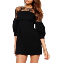Shoulder Lace Cutwork Puff 3/4 Sleeve Black Mini Dress