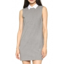White Lapel Gray Office Lady Sleeveless Column Dress