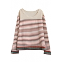 Ethnic Style Striped Round Neck Long Sleeve Tee