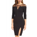 Sheer Lace Mesh Inserted 3/4 Sleeve Dress with Side Split
