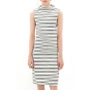Stripe Print Half High Neck Sleeveless Shift Dress