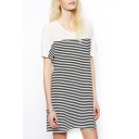 White Panel Shoulder Black Stripes Short Sleeve Laid Back Dress