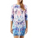 3/4 Sleeve Round Neck Geometry&Flower Print Dress