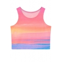 Summer Hot Ombre Print Fitted Round Neck Crop Tanks