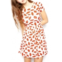White Background All Over Red Lips Print Short Sleeve It Style Dress