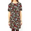 Short Sleeve Black Background All Over Cute Flora Print Dress
