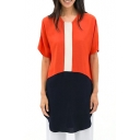 Color Block Short Sleeve Round Neck Dress
