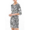 Zebra Striped Print Half Sleeve Fitted Mini Dress