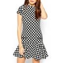 Black White Square Print Zip Ruffle Hem Dress
